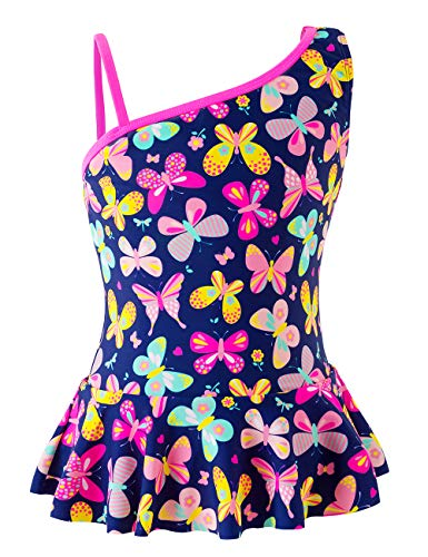 Girls One-Piece Swimsuit, Vivid Butterfly Printing Swimwear, Beach Bathing Suit for Vacation (Salt Printing Chemicals)