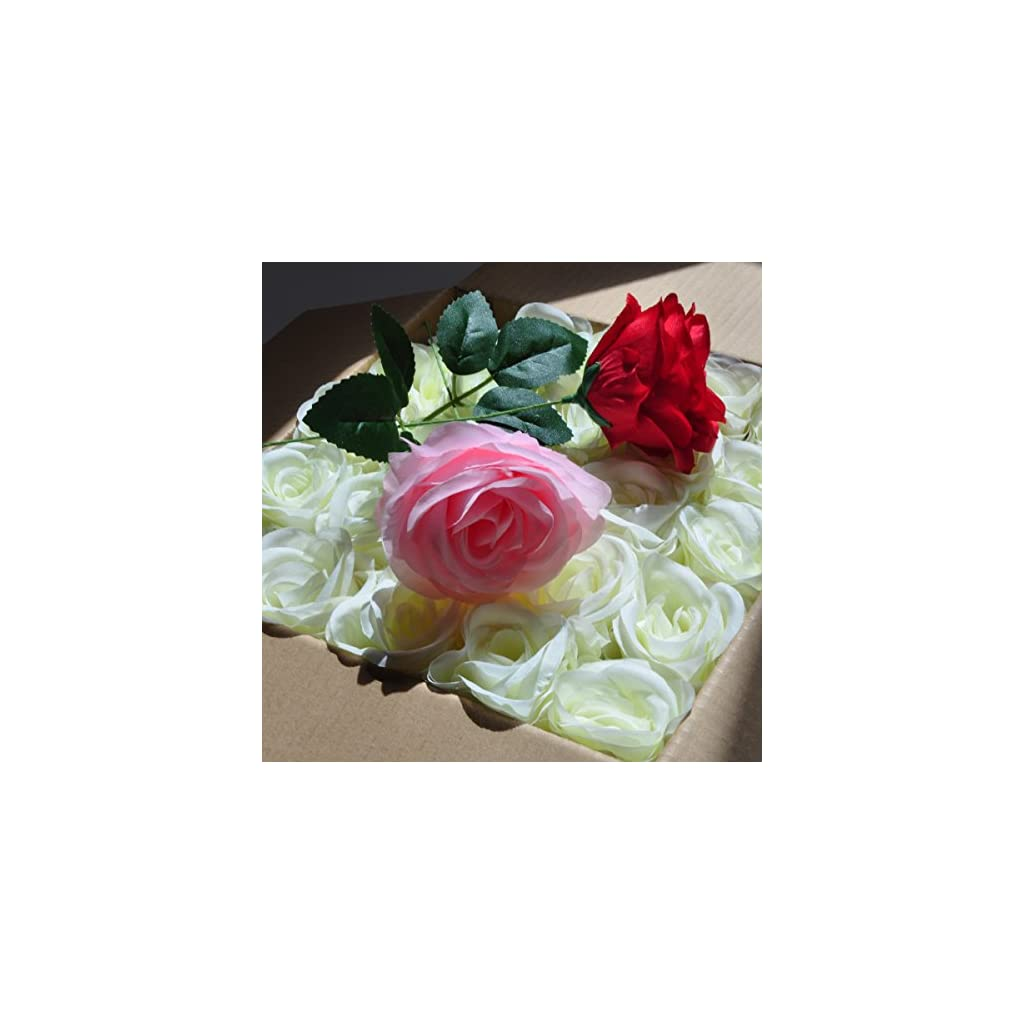 cn-Knight Artificial Flowers 50PCS Silk Rose with Wire Stem Real-Touch Fake Rose for DIY Wedding Décor Bride&Bridesmaid Bouquets Home Office Baby Shower Party Prom Centerpieces Arch Garland(Pink)
