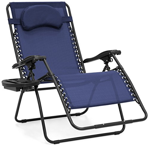 Oversized Zero Gravity Outdoor Reclining Lounge Patio Chair w/Cup Holder - Navy (Mesh Patio Recliner)