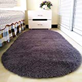 YJ.GWL High Pile Velvet Bedroom Bedside Rug (31' x 63'), Extra Soft & Easy Clean Shaggy Area Rugs, Plush Carpet for Kids Room Decor, Grey-Purple Oval