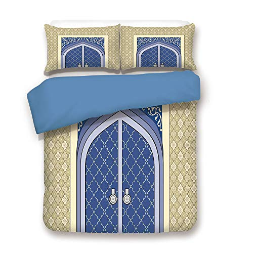 iPrint Duvet Cover Set,Blue Back,Moroccan,Medieval Door with Ottoman Architecture Persian Influences Arabic Culture Design,Blue Beige,Decorative 3 Pcs Bedding Set by 2 Pillow Shams,Full Size -