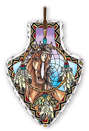 Amia 41831 Arrowhead Hand-Painted Glass Suncatcher, Horse Design, 5-1/2-Inch x 7-Inch - Hand Painted Glass Head