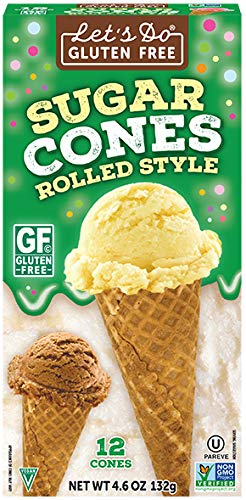 Let's Do...Gluten Free Sugar Cones Rolled Style, 12 Cones per Box, (Pack of 12 Boxes)