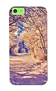 Iphone 5c Case Cover - Slim Fit Tpu Protector Shock Absorbent Case (snowy Alley )