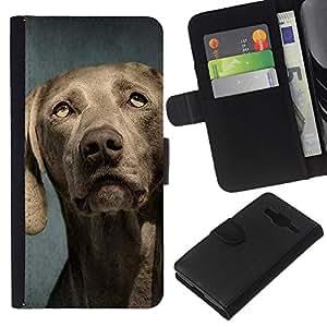 EJOY---La carpeta del tirón la caja de cuero de alta calidad de la PU Caso protector / Samsung Galaxy Core Prime / --Weimaraner Retrato Bozal perro gris