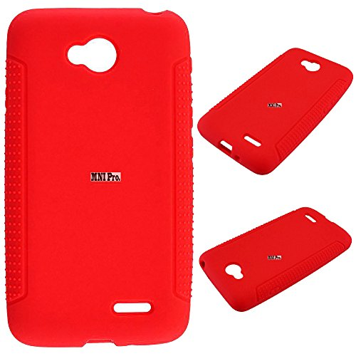 LG Ultimate 2 , Optimus L70 Case - Soft Rubber Silicone Skin Cover (Red)+ICE-CLEAR(TM) Screen Protector Shield(Ultra Clear)+Touch Screen Stylus