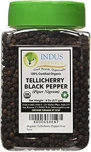 Indus Organics Tellicherry Black Peppercorns, 8 Oz Jar, Premium Grade, High Purity, Freshly Packed