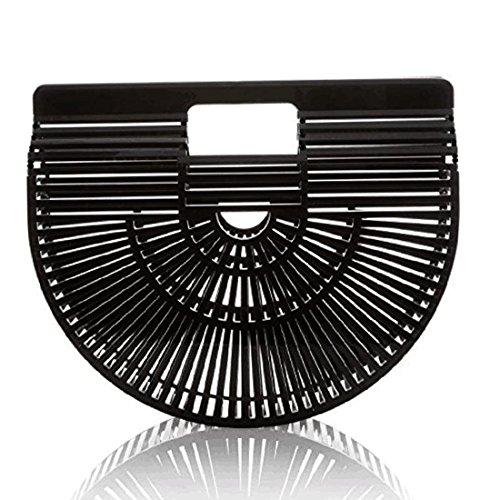 Handbag Bag Large Clutch Purse Summer Handmade Vintage Tote Beach Bamboo Womens Black anFqw1tTx