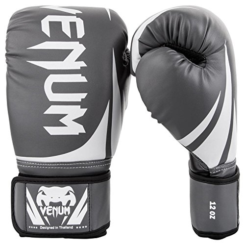 Venum Challenger 2.0 Boxing Gloves - Grey/White/Black - 14-Ounce
