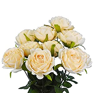 Lacheln Artificial Silk Rose Flowers Bouquet 10 Heads with Stem Home Wedding Party Floral Decor 2