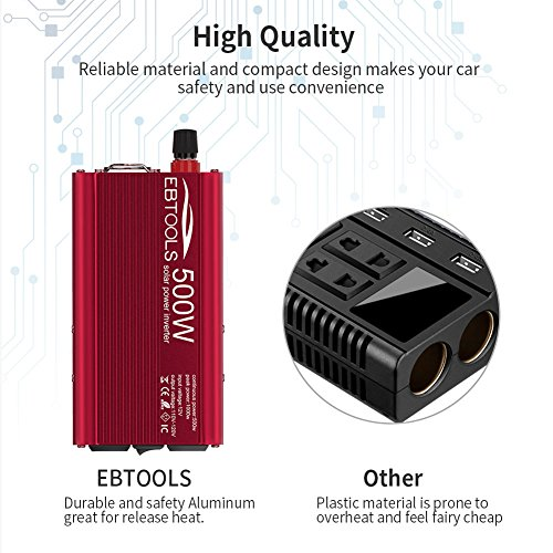 Car Power Inverter, EBTOOLS 500W/1000W Inverter 12V DC to 110V AC Car Converter with 2 AC Outlets and 2.1A USB ports for Laptop,Smartphone,Household Appliances in case Emergency, Storm and Outage by EBTOOLS (Image #6)