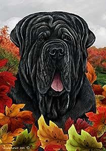 Neapolitan Mastiff Uncropped–mejor de raza Fall Leaves casa bandera