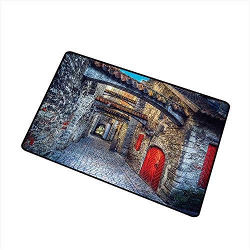 Becky W Carr Medieval Welcome Door mat Old Stone Street with Stone Passage Estonia Medieval Town Heritage Photo Art Door mat is odorless and Durable W15.7 x L23.6 Inch,Grey Red Brown