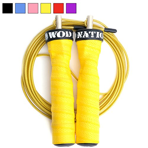 Attack Speed Jump Rope by WOD Nation - Adjustable Jumping Ropes - Unique 2 Cable Skipping Workout System - 1 Heavy and 1 Light 11' Cable - Perfect for Double Unders - Fits Men and Women (Rouge Fitness Equipment)