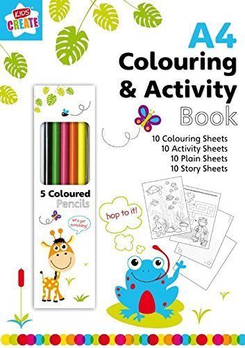 Anker Kids Create Arts and Crafts Drawing Book with 5 Colour Pencils, Plastic, Assorted Colour [Energy Class A] ACBK/2