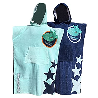 """TEAM MAGNUS Bathrobe for Kids Age 5-14 – Hooded Beach Towel for Swimming/Surfing - Classic Swim Poncho in Two Devilfish Designs (Dark Blue/Light Blue) - Quality 360gsm Cotton for Boys & Girls 4'-5'6"""""""