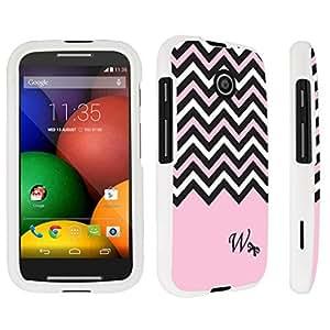 DuroCase ? Motorola Moto E (2014 Released) Hard Case White - (Black Pink White Chevron W)