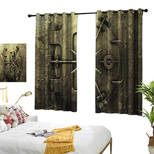Lightly Door Curtain Rustic,Grunge Style Bank Vault Safe 72