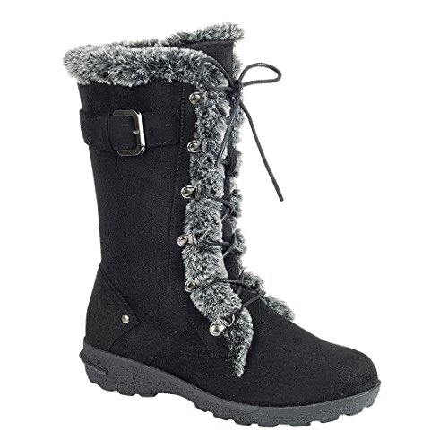 FOREVER FP05 Women's Lace up Side Zipper Buckle Mid Calf Winter Snow Boots