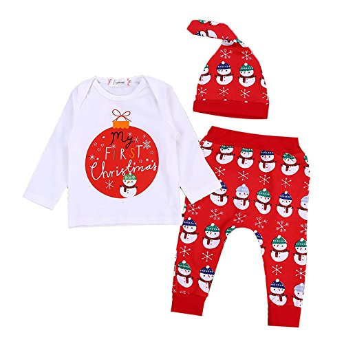 Cenhope 3Pcs Baby Girls Boys Christmas Outfits Snowman Long Sleeve T-Shirt + Pants Set with Hat (Red, 0-3M)