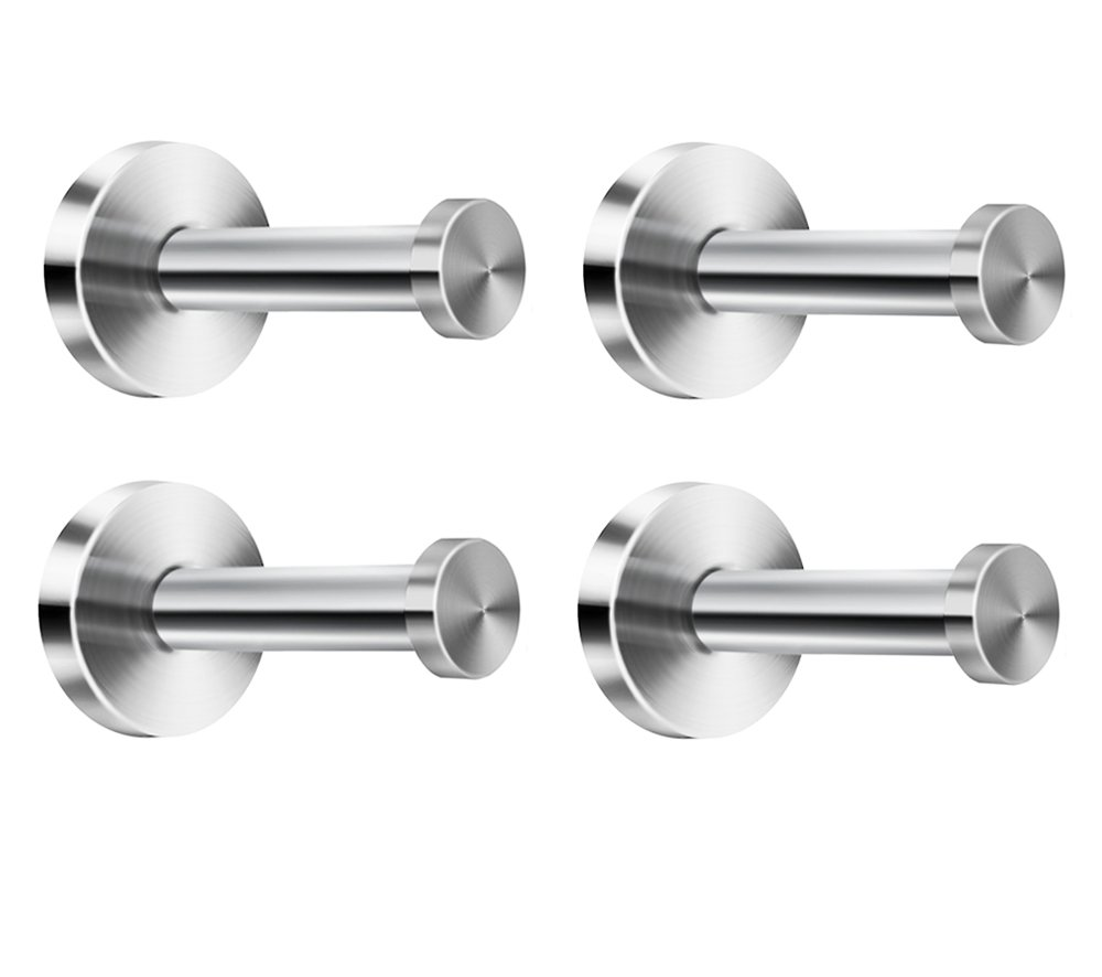 NELXULAS 2-4/5 Brushed Stainless Steel Long Bath Towel Hooks Single Super Heavy Duty Wall Mount Hook, Fit for Bedroom,Living room, Bathroom and Fitting room, Office and Garage Storage,4 in pack (4)