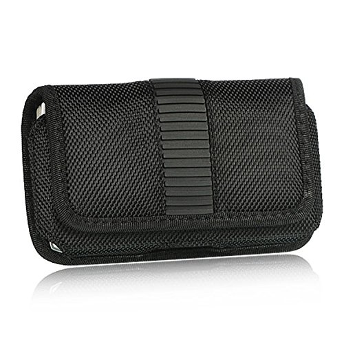 Iphone 3g Belt Clip - Black Neoprene Fabric Leather Trim Vertical Pouch Carry Case Magnetic Flap Belt Clip for Apple iPhone 3G 3GS 4 4S LG Optimus Series Blackberry Torch Curve Storm