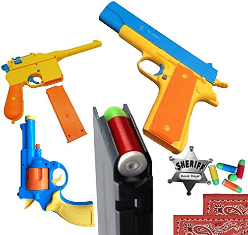 3 PACK PLAYSET: 3 Classic Toy Guns with Soft Bullets: Colt 1911, Mauser C96, and British Bull-Dog Revolver. 1:1 Scale Replicas WITH BONUS PACK of Metal Sheriff Badge, 2 Bandanas, 5 Extra Rounds
