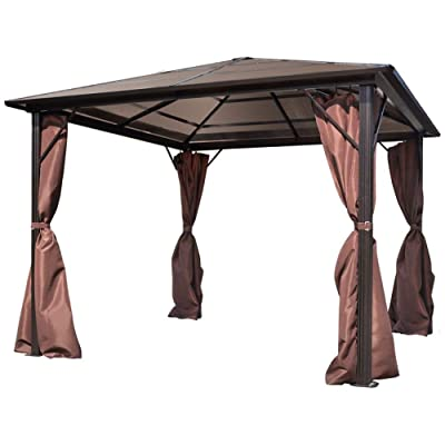 ZAMAX 10x10ft Heavy Duty Aluminum Frame Outdoor Gazebo Canopy with 4 Sidewall Privacy Curtains, Outside Backyard Sunshade Shelter Tent, Perfect for Garden, Patio, Lawns, Parties, Brown : Garden & Outdoor