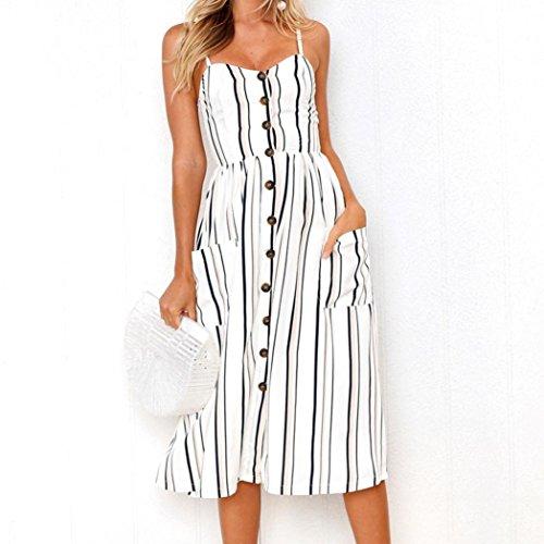 Largas Botones Vestido Keepwin De Mujer Blanco Faldas Sexy Casual EleganteTrapecio Vestido del Impresiones Sin Suelto Fuera Faldas Sling Casual Manga Verano Faldas Hombro Rayas vvzqt