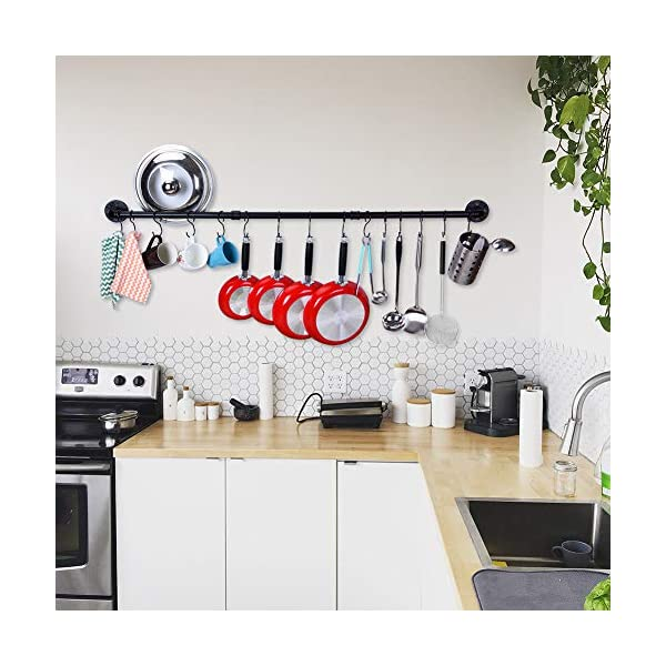 50.4 Inch Kitchen Wall Mount Rail Kitchen Utensil Rack with 15 Hooks, Pot and Pan Organizer Hanging, Pot Lid Spatula… 3
