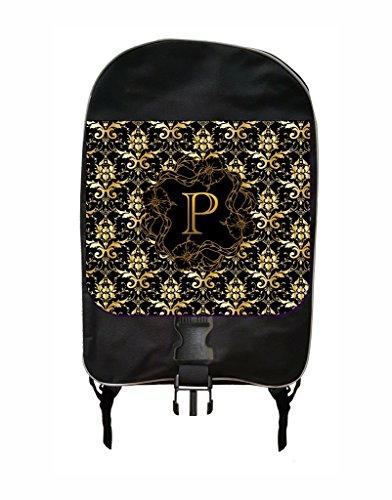 Elegant Golden Floral Monogram Jacks Outlet-Jacks Outlet TM Customizable School Backpack