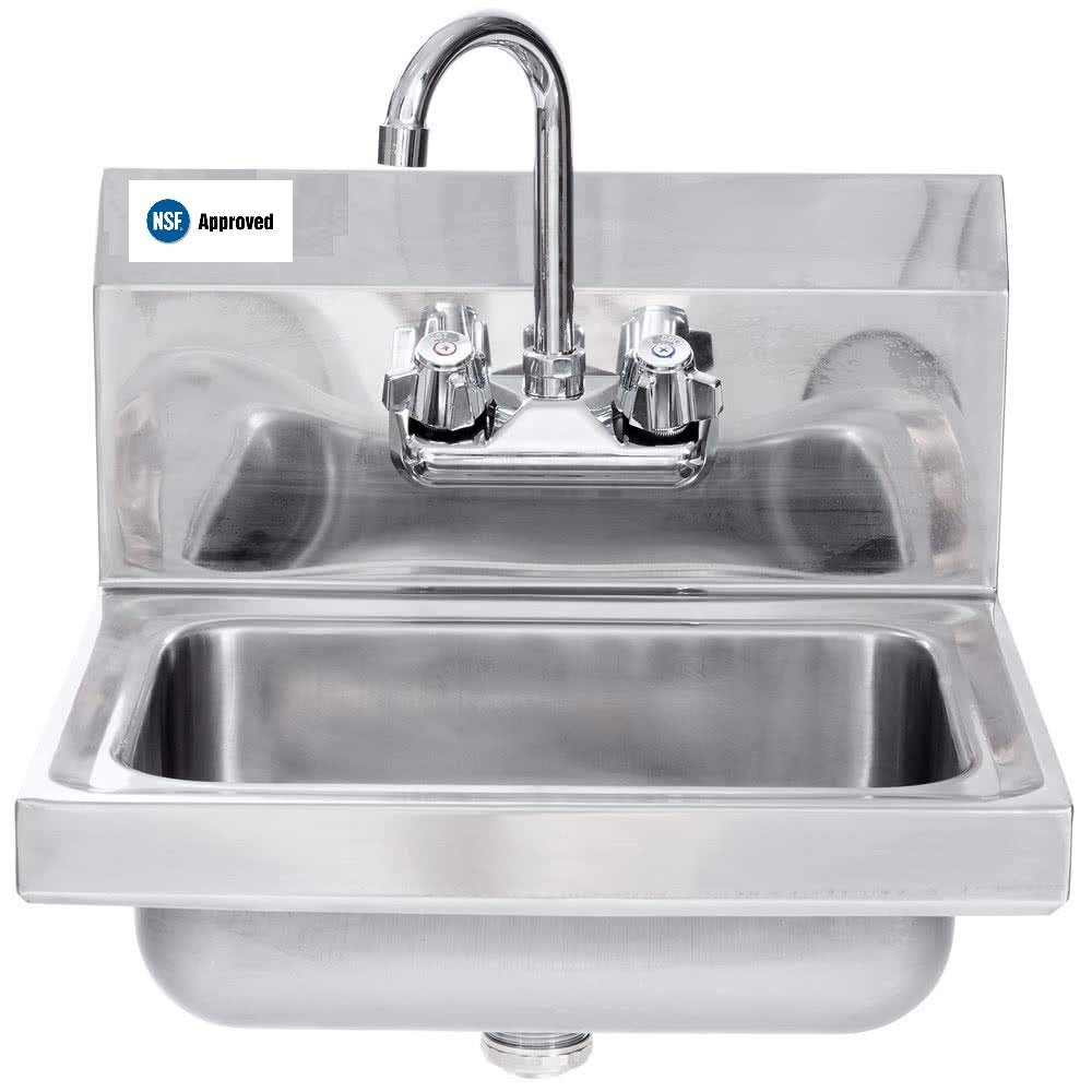 "Stainless Steel Commercial Hand Sink & Faucet 16.5"" X 16"" NSF"