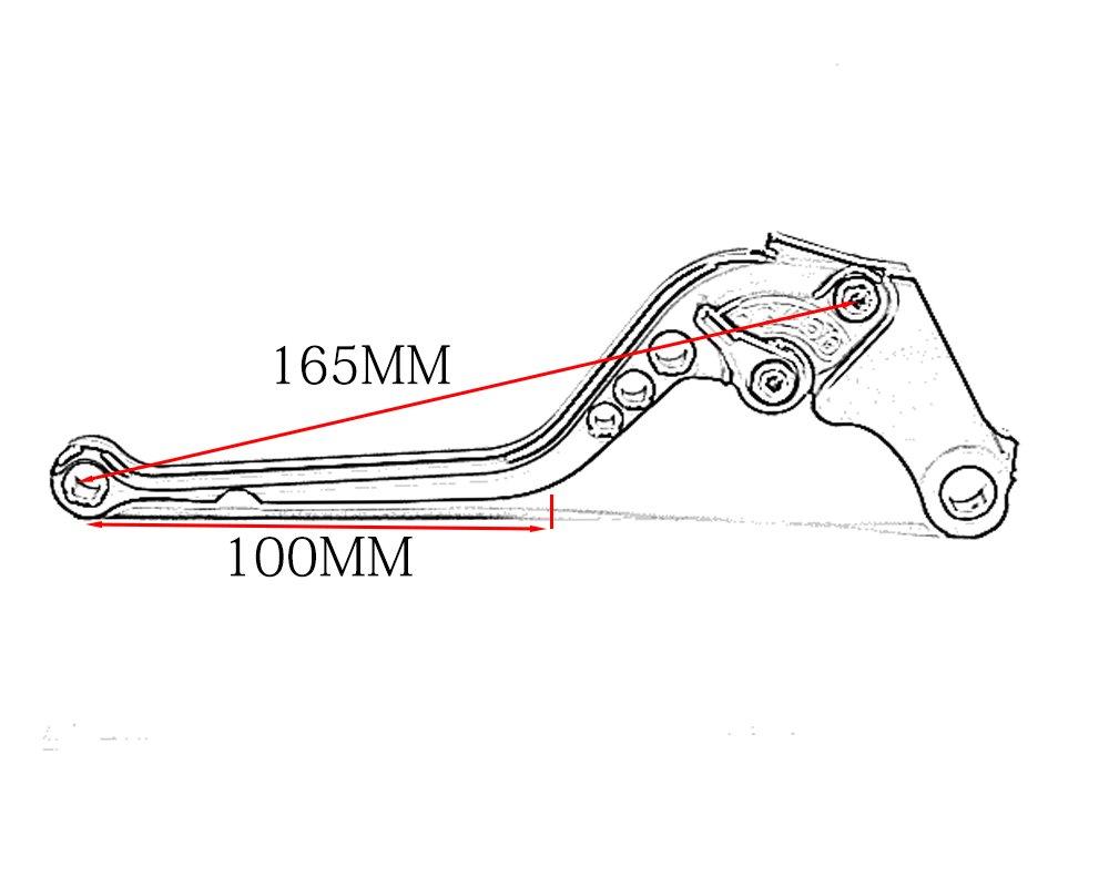 Tencasi Nero CNC Lungo Regolabile Freni e Frizione Leve per Kawasaki Z750 not Z750s model 2007-2012 Z800//E version 2013-2016