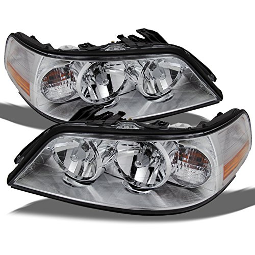 For Lincoln Town Car Halogen Type Replacement Chrome Headlights Driver/Passenger Head Lamps Pair New