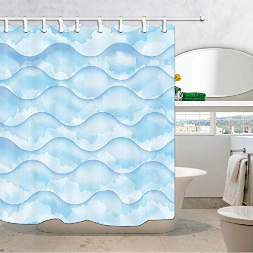 SZZWY Wave Pattern Water Texture Sketch Modern Home Wallpaper Shower Curtain for Bathroom Watercolor Blue Wave Shower Curtain 3D Fabric Bathroom Accessories Bath Curtains with 12PCS Shower Hooks
