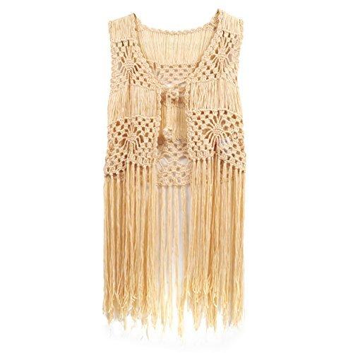 e Suit Swim Crochet Long Fringe Vest Bikini Cover Up Hippie Clothes for Women Free Size (Apricot) ()