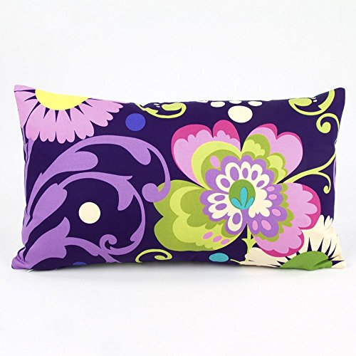 "Lalapalooza Floral / Dot Decorative Handmade Lumbar Pillow Cover, 12x20"", Reversible, Multicolor, Chloe & Olive"