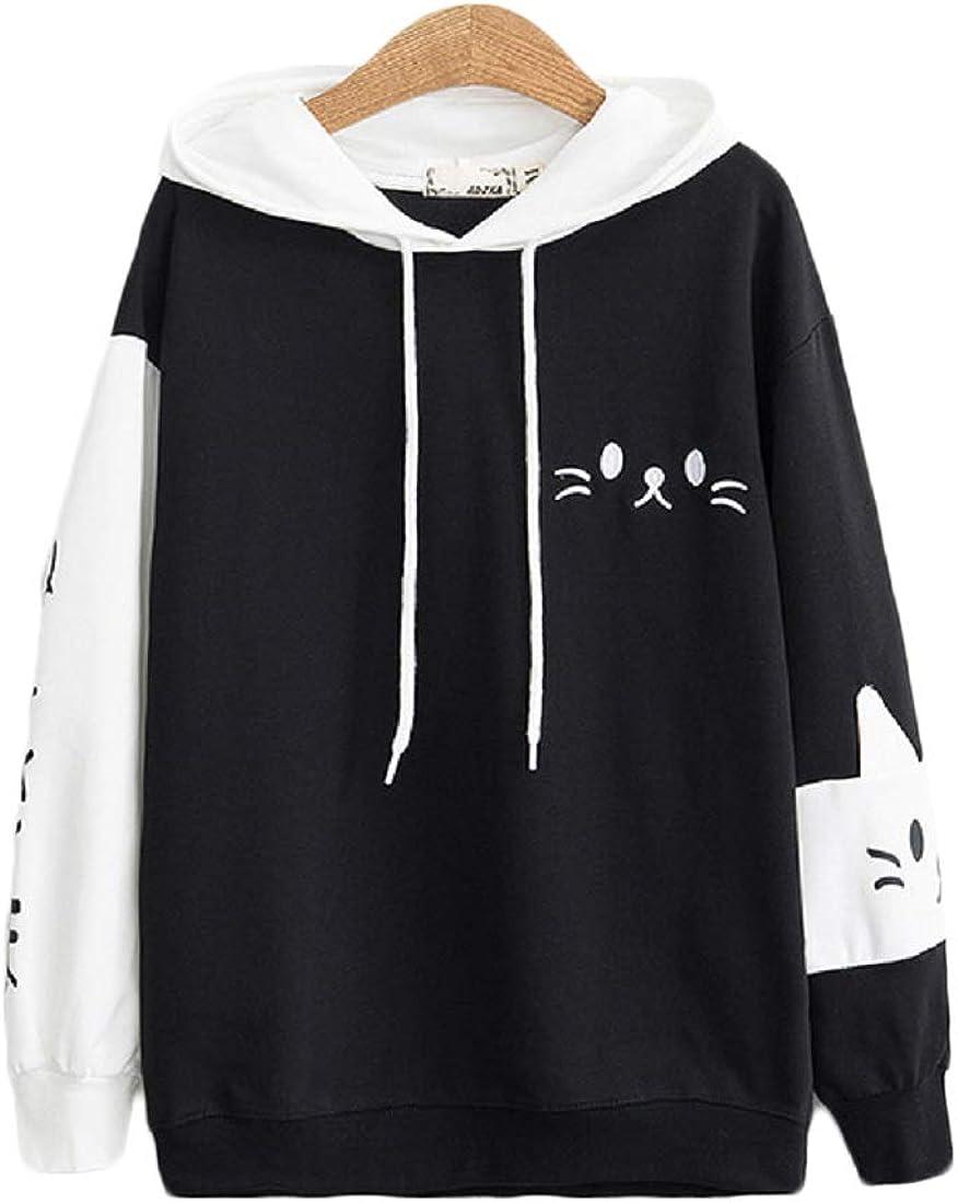 CORIRESHA Japanese School Girl Cute Cat Ear Hooded Sweatshirt