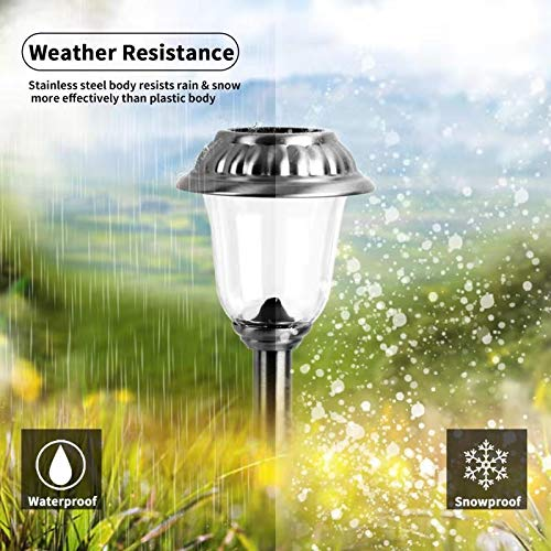 EZSolar Solar Pathway Lights Outdoor of Stainless Steel Case, Glass Lens, Garden Lights for Patio, Walkway- 8 Packs by EZSolar (Image #1)