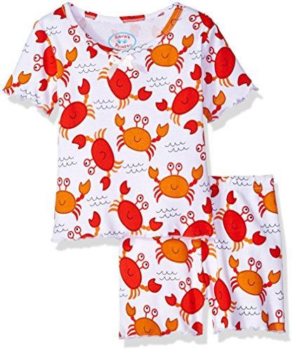 Sara Girls Clothing - Sara's Prints Girls' Little Fitted Short Pajamas, Smiley Crabs-MCR, 7