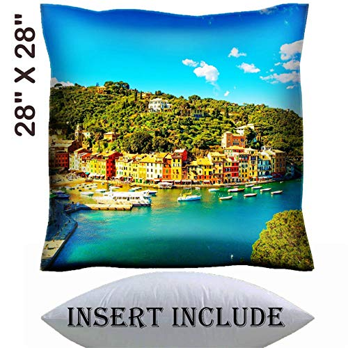 28x28 Throw Pillow Cover with Insert - Satin Polyester Pillow Case Decorative Euro Sham Cushion for Couch Bedroom Handmade IMAGE ID: 27718089 Portofino luxury landmark aerial panoramic view Villag