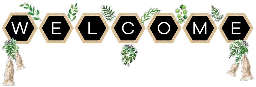 Schoolgirl Style Simply Boho Welcome Bulletin Board Set—Greenery Accents, Hexagons, Tassel Cutouts for Bulletin Boards, Homeschool or Classroom Décor (20 pc)