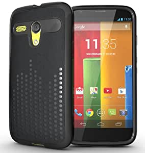 TUDIA Ultra Slim Melody TPU Bumper Protective Case for Motorola Moto G SmartPhone (2013 1st Gen Only) (Black)