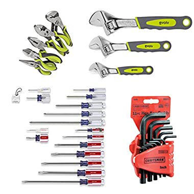 Sears Craftsman Tools Combo Includes 17 Pc. Screwdriver, 3 Pc. Adjustable Wrench, 5 Pc. Pliers and 11 Pc. Allen Hex Keys Sets.