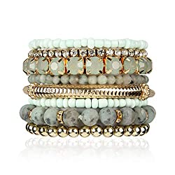 Multi Color Beaded Stretch Bangles