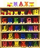 Personalized Colorful Wooden Train Alphabet Letter 5 letters Name by toys.funworld