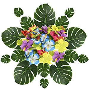 RTWAY 63 Pieces Hawaiian Luau Theme Party Decorations, 41 Pieces Tropical Palm Leaves, 22 Pieces Silk Hibiscus Flowers Jungle Beach BBQ Birthday Party Decor Supplies 111