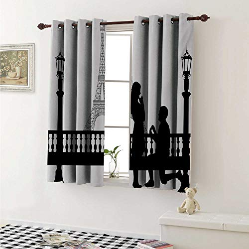 shenglv Engagement Party Drapes for Living Room Paris Love Valentines City Wedding Proposal Future Happiness Image Curtains Kitchen Window W96 x L72 Inch Black and White