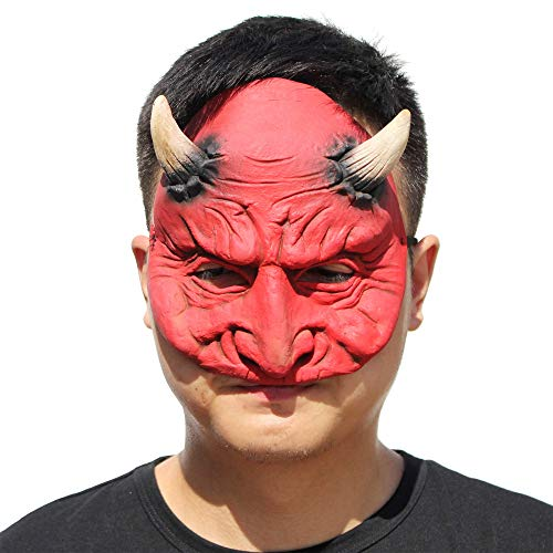Halloween Carnival Party Scary Half Face Red Magic Latex Mask Tricky Spoof -