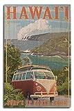 Lantern Press North Shore, Hawaii - Surf's Up - Camper Van Coastal (10x15 Wood Wall Sign, Wall Decor Ready to Hang)